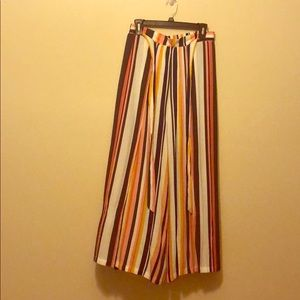 Blue, white, yellow and pink stripped linen pants